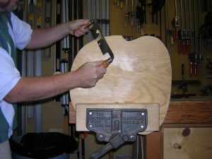 shaping seat with a drawknife